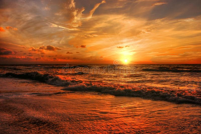 Abendstimmung, Afterglow, Beach stock photography