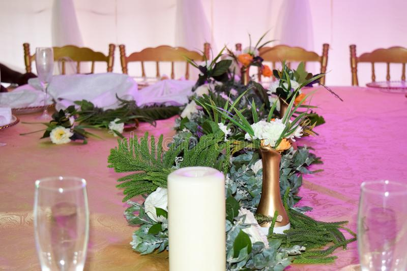 Abendtischsatz stockbild