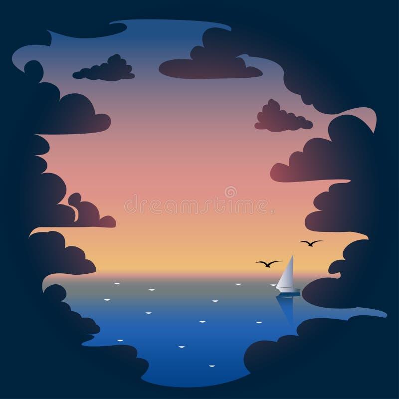 Abendwolken und -sonnenuntergang im Meer vektor abbildung