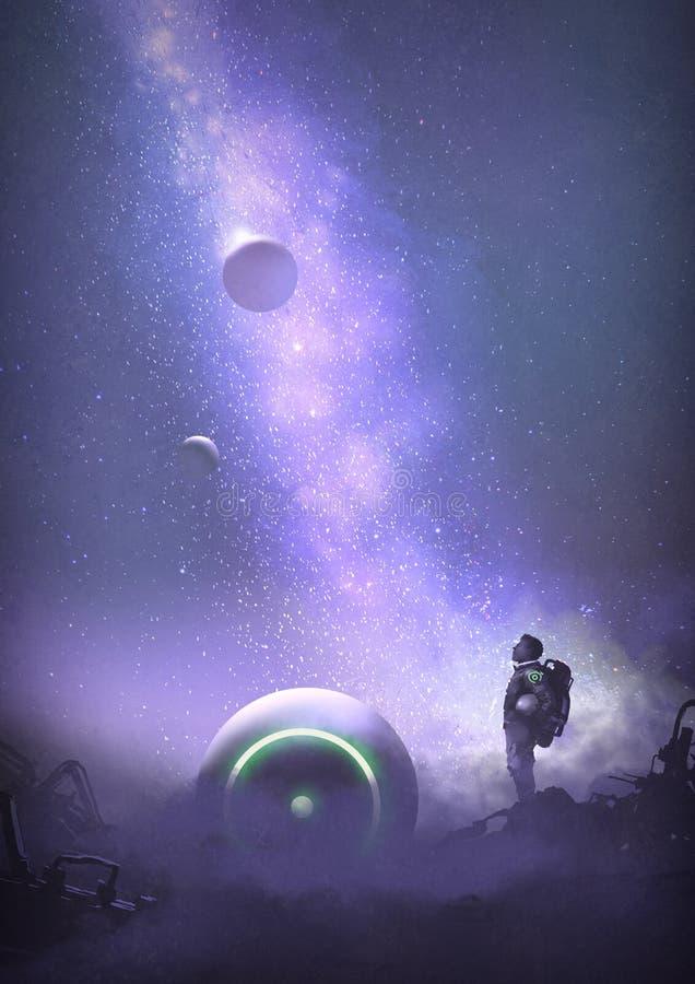 Abenteuer auf dem ruinierten Planeten stock abbildung