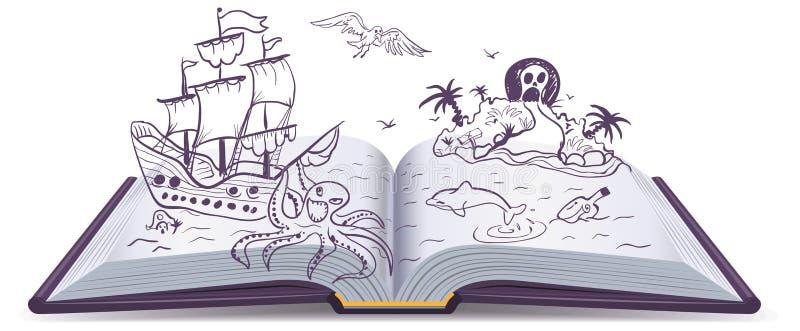 Abenteuer des offenen Buches Schätze, Piraten, Segelschiffe, Abenteuer Lesephantasie stock abbildung