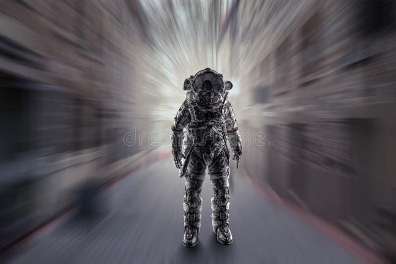 Abenteuer des Raumfahrers Gemischte Medien stockbilder