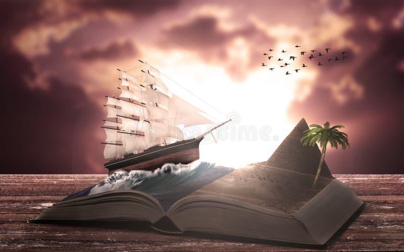 Abenteuer in einem offenen Buch lizenzfreie stockfotos
