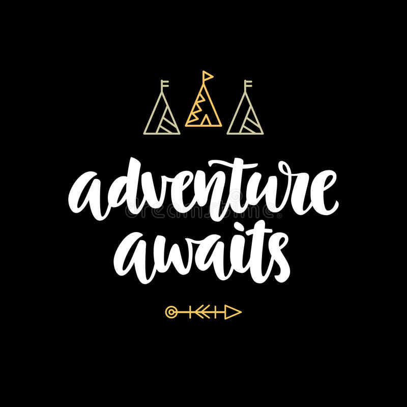 Abenteuer erwartet Hippie-Fotoüberlagerung, Inspirationszitat lizenzfreie abbildung