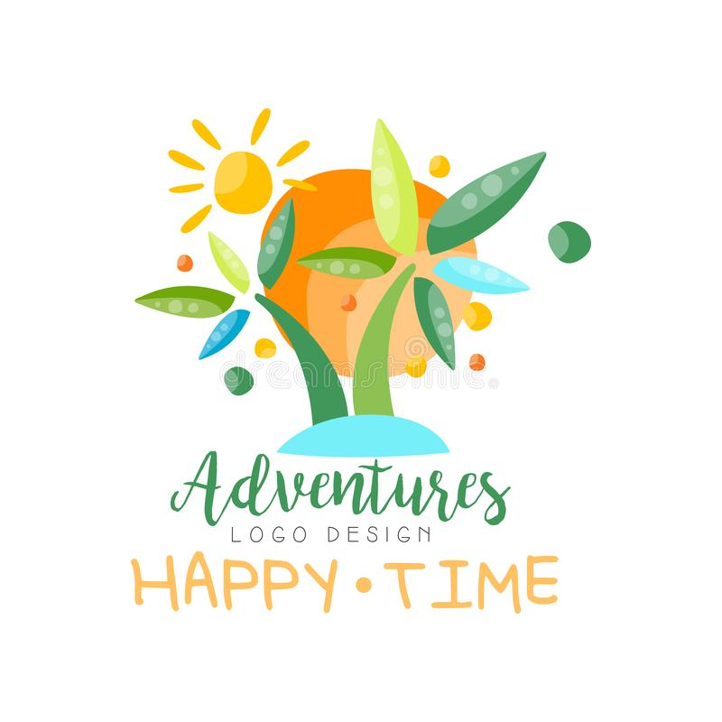 Abenteuer, glücklicher Zeitlogoentwurf, Strandsommerferien, Reise, tropisches Paradies, kreativer Aufkleber der touristischen Age stock abbildung