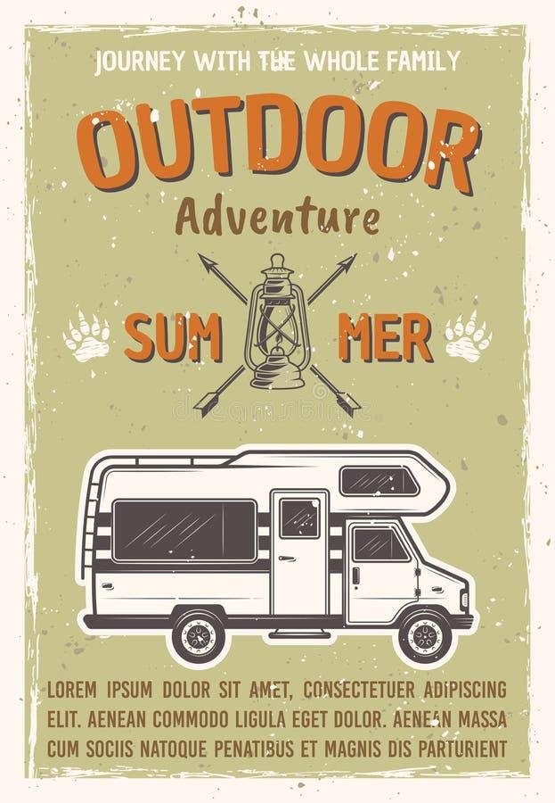 Abenteuer im Freien auf Wohnwagenbus-Vektorplakat lizenzfreie abbildung