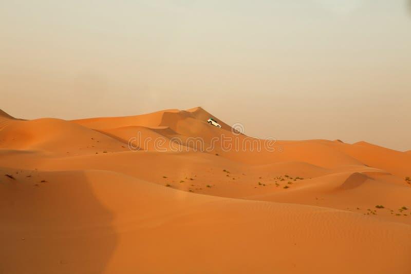 Abenteuer, Reise oder aktives und extremes Ferienkonzept: extreme Safari Weg von den Straßenfahrzeugen, die in die Wüste fahren lizenzfreie stockbilder