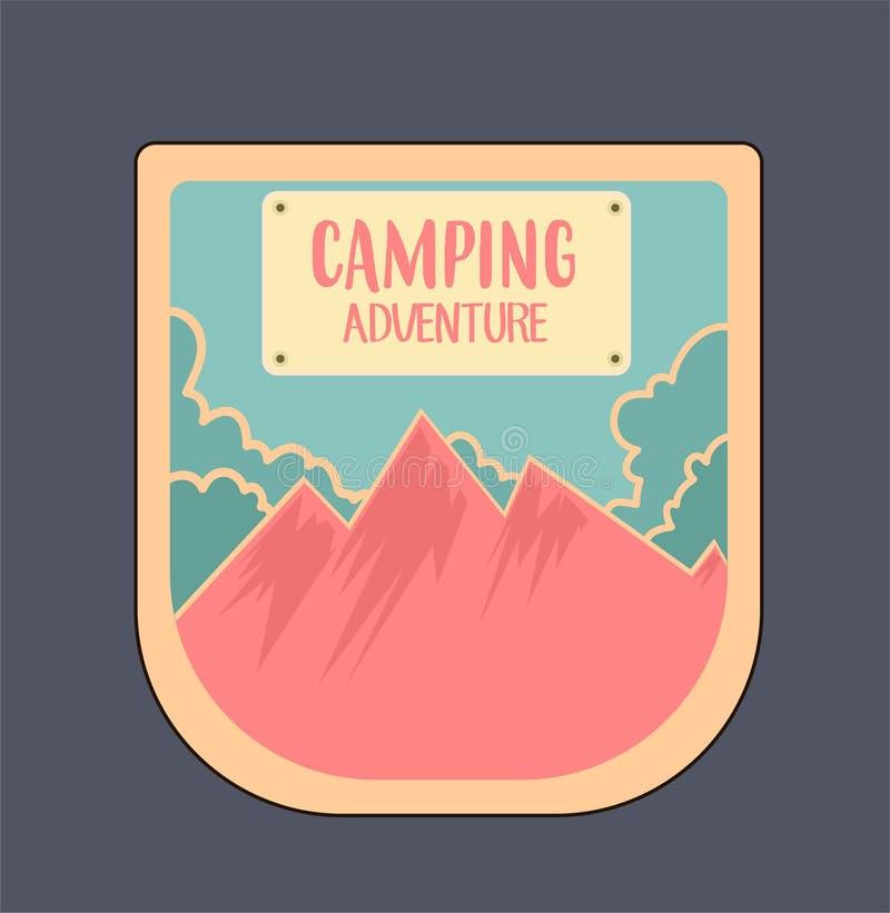 Abenteuerausweis im Freien und Retro- Emblem, hergestellt in den hellen Farben lizenzfreies stockbild