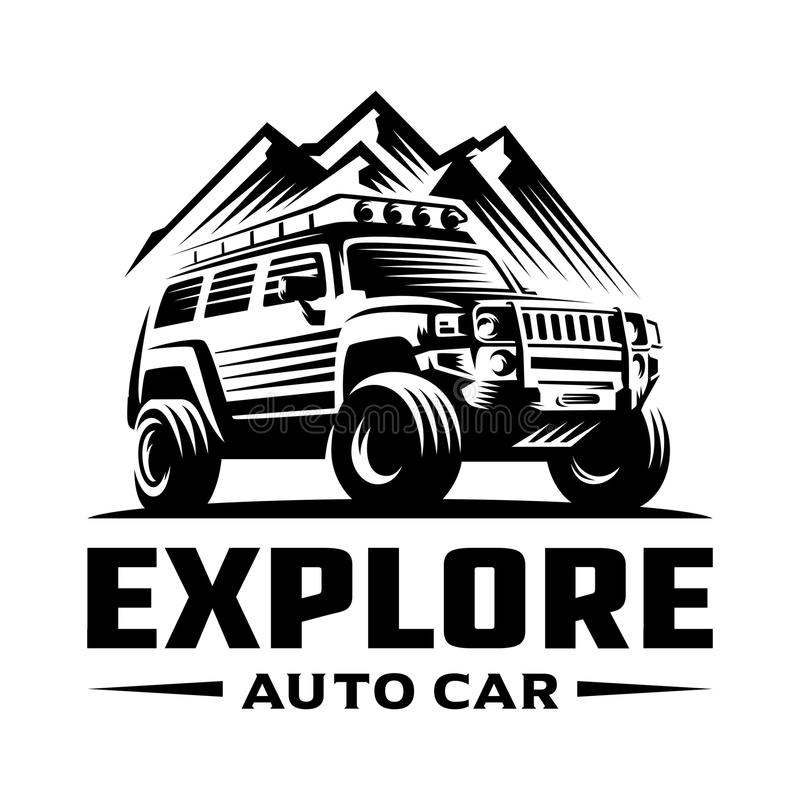 Abenteuerstraßenauto-Logoschablone lizenzfreie abbildung