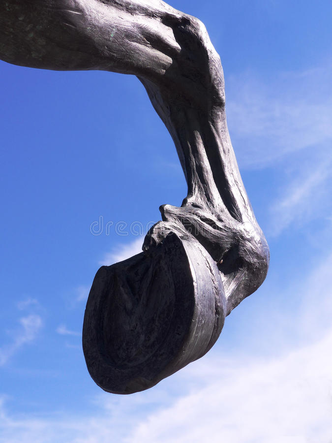 Aberaeron Welsh Cob Stallion Hoof Statue. David Mayer's 2005 sculpture of a Welsh Cob stallion situated in Aberaeron. Donated to the town by the Aberaeron royalty free stock photo