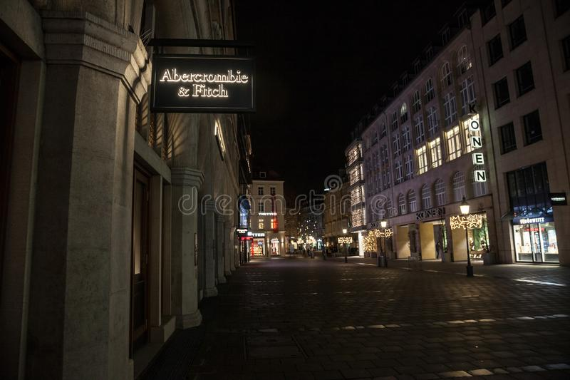 Abercrombie & Fitch logo on their Munich main shop taken at night. Abercrombie & Fitch is American retailer specialized in Youth w. Picture of the Munich stock images
