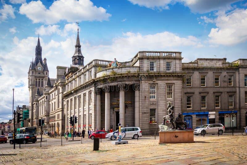 Aberdeen, arquitectura histórica, casa de ciudad, Escocia, Gran Bretaña, 13/08/2017 foto de archivo