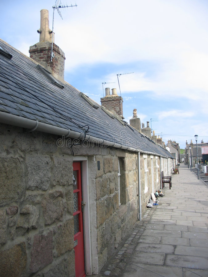 Aberdeen cottages stock photo