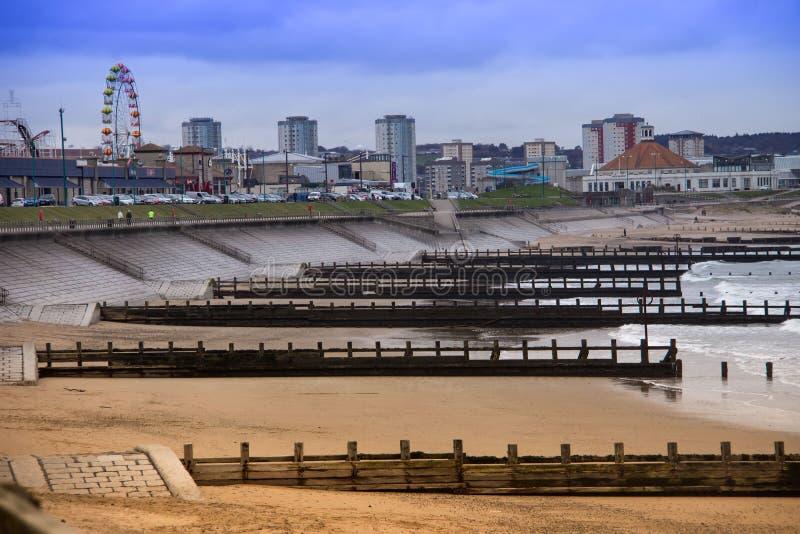 Aberdeen Fun Beach. Scotland, United Kingdom. Aberdeen, Scotland, United Kingdom - March 18, 2016: View of Aberdeen Beach stock photography