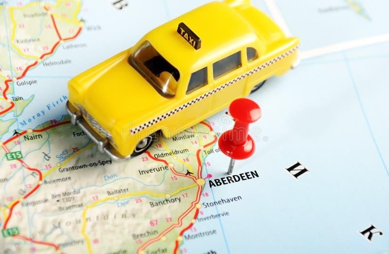 Aberdeen Scotland; Great Britain map taxi stock photo