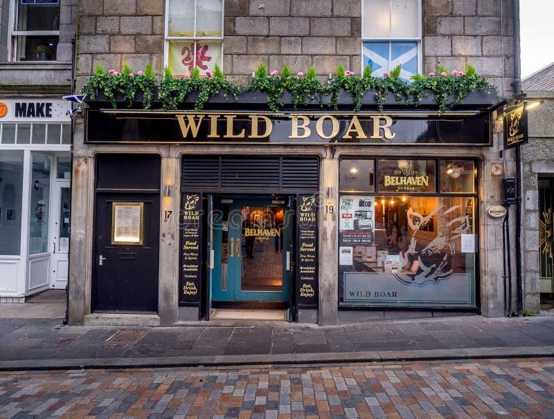 Wild Boar pub, Aberdeen. ABERDEEN, SCOTLAND: JULY 23: Exterior facade of the Wild Boar pub in the evening on July 23, 2017 in Aberdeen, Scotland. The Wild Boar stock photography