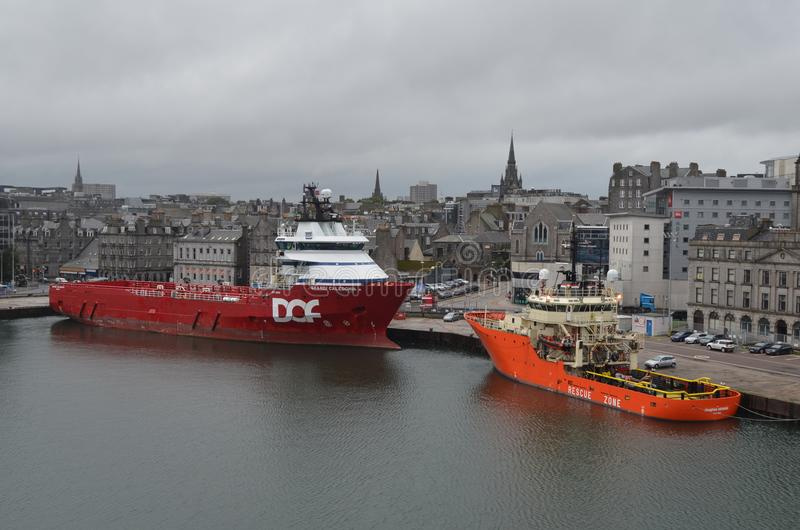 Aberdeen -Scotland- harbour, main gateway for the North Sea oil and gas offshore industry stock images