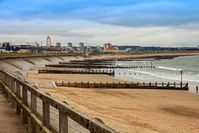 Aberdeen Fun Beach. Scotland, United Kingdom. Aberdeen, Scotland, United Kingdom - March 18, 2016: View of Aberdeen Beach royalty free stock photos