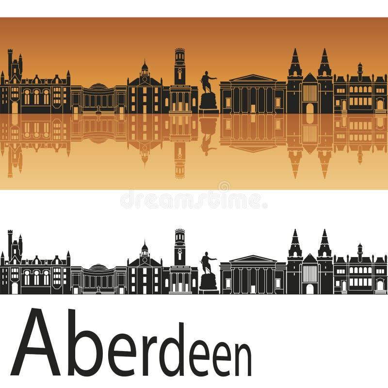 Aberdeen skyline in orange background vector illustration