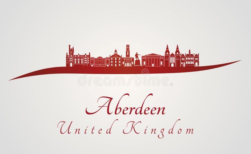 Aberdeen skyline in red royalty free illustration