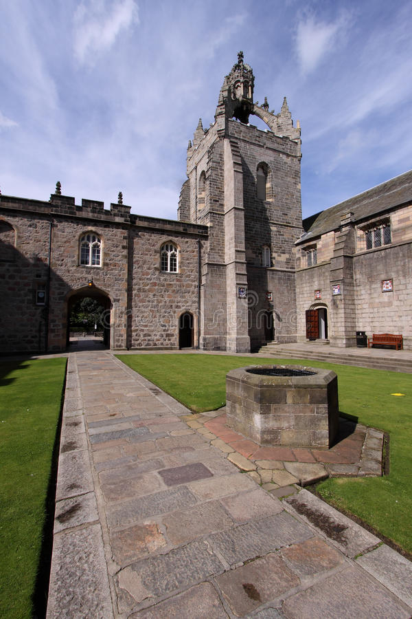 Aberdeen University King's College Quadrangle. Captured on a beautiful late summer morning. Founded in 1495 this is one of Scotland's oldest universities; the stock photography