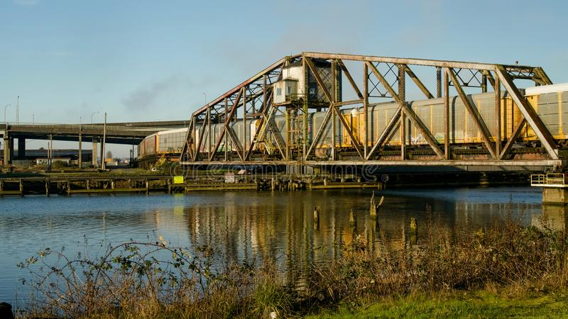 Aberdeen, Washington / USA - March 10, 2018: The Puget Sound & Pacific Railroad Wishkah River Bridge is an important part of Grays stock image