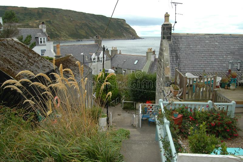 Lane through village of Gardenstown, Scotland royalty free stock photography