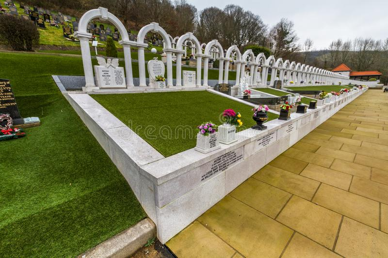 Editorial, Graves of victims of the Aberfan Disaster, wide angle royalty free stock photo