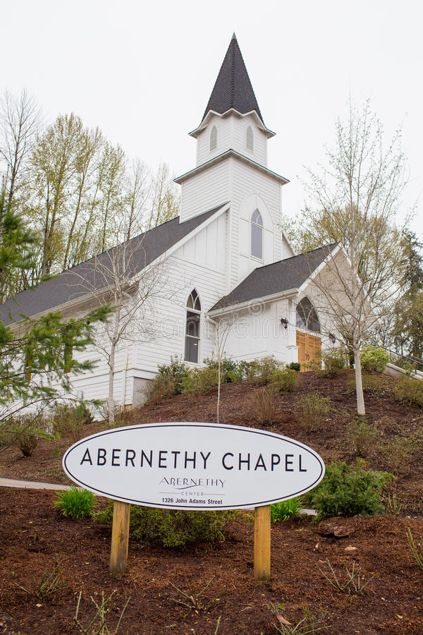 Abernethy Center and Chapel in Oregon stock photography