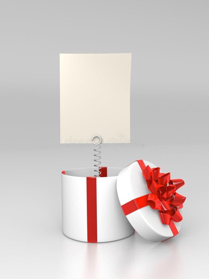 Aberto em volta da caixa de presente com cartão em branco ilustração do vetor