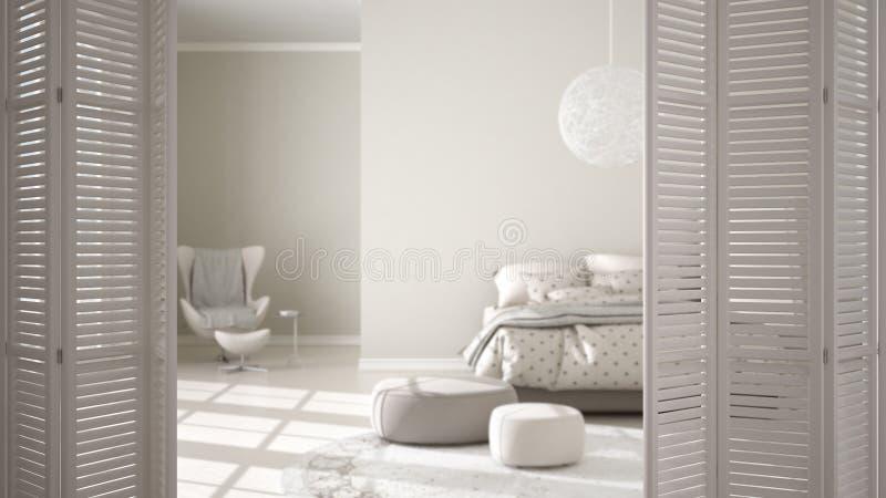 Abertura branca da porta de dobramento no quarto confortável moderno com assoalho de parquet e a janela panorâmico, design de int ilustração royalty free