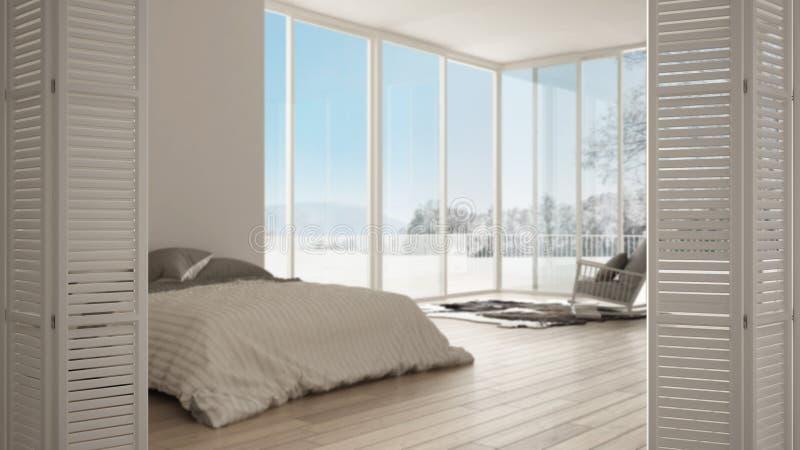 Abertura branca da porta de dobramento no quarto minimalista com a janela, tapete e a poltrona panorâmicos grandes, design de int ilustração stock