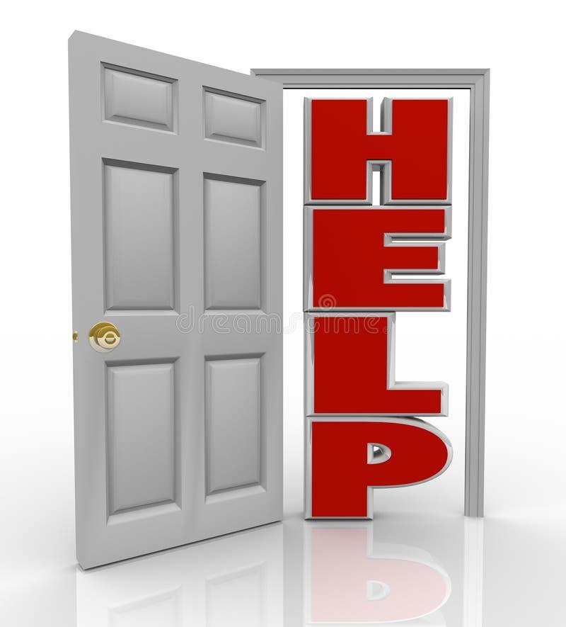 Abertura de la puerta de la ayuda a apoyar y ayuda libre illustration