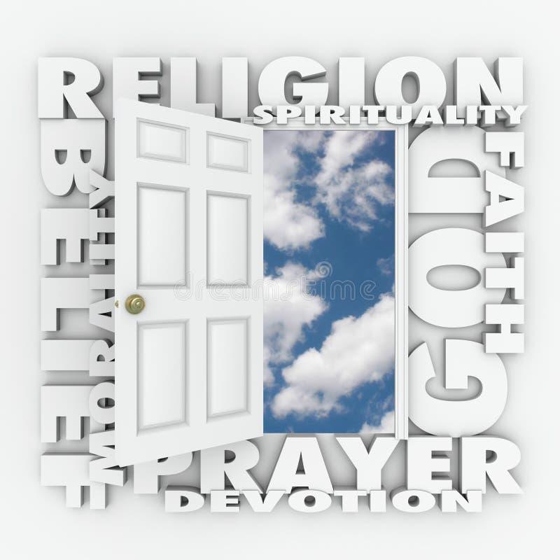 Abertura de la puerta de la creencia de la fe de la religión para seguir dios o espiritualidad ilustración del vector