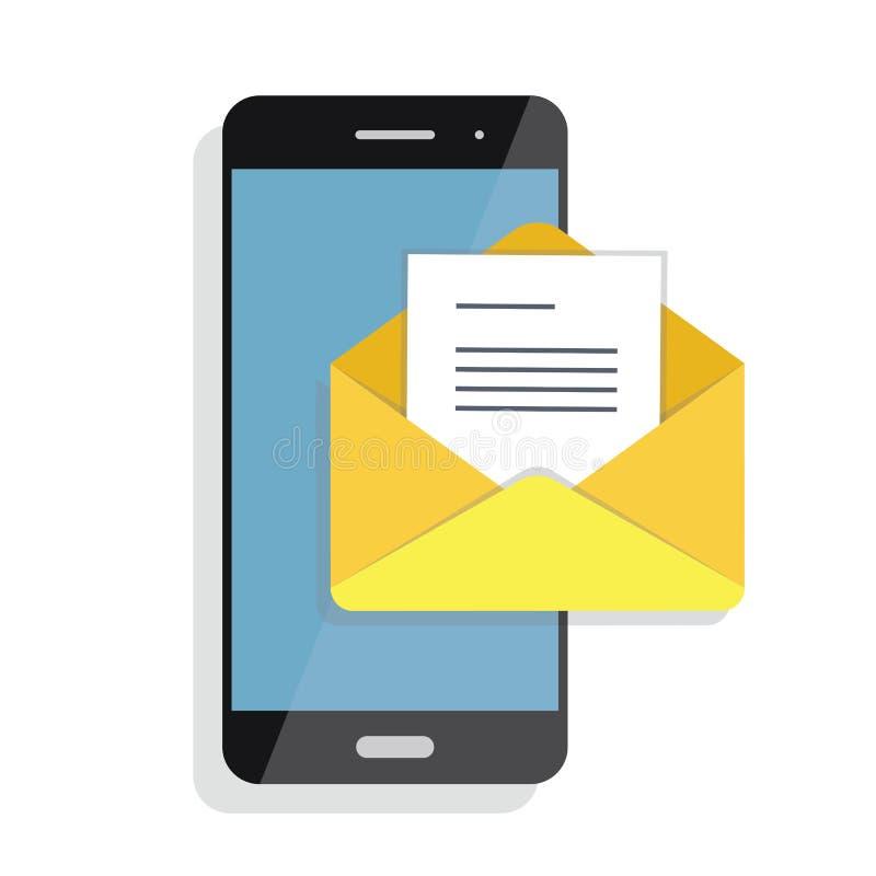 Abertura de un correo electrónico entrante a un smartphone Envío por correo electrónico, Spam, comercio electrónico libre illustration