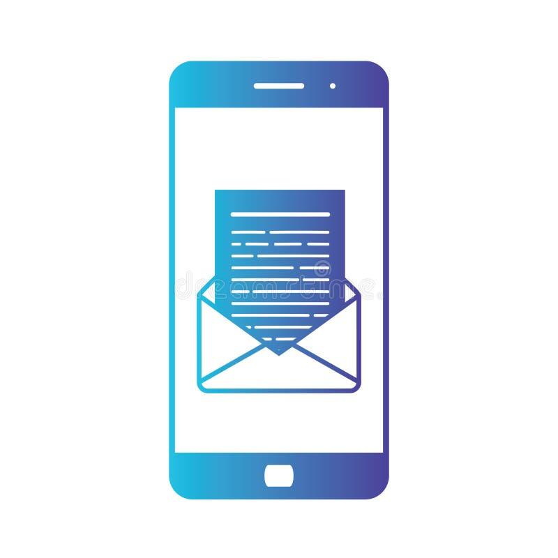 Abertura de un correo electrónico entrante a un smartphone Envío por correo electrónico, Spam, comercio electrónico E ilustración del vector