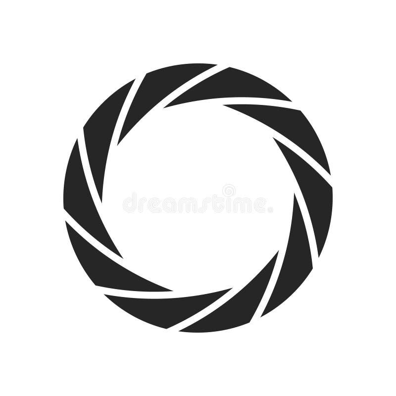 Abertura do ícone da fotografia do obturador da câmera Projeto digital do zumbido da lente do preto do vetor do foco ilustração stock