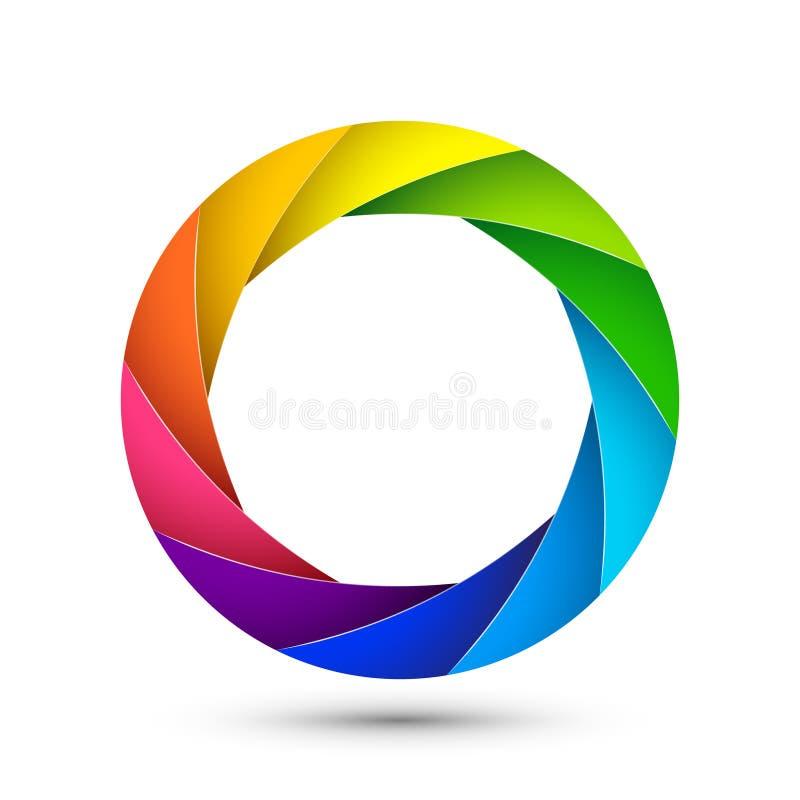 Abertura do ícone da fotografia do obturador da câmera Do zumbido colorido da lente do vetor do foco projeto digital ilustração royalty free