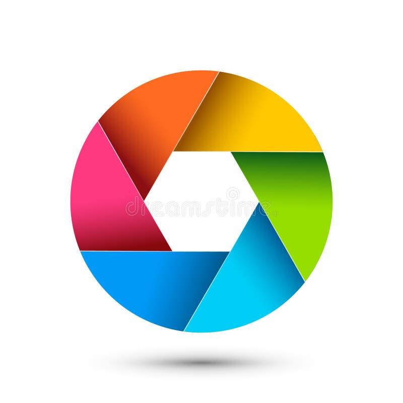 Abertura do ícone da fotografia do obturador da câmera Do zumbido colorido da lente do vetor do foco projeto digital ilustração do vetor
