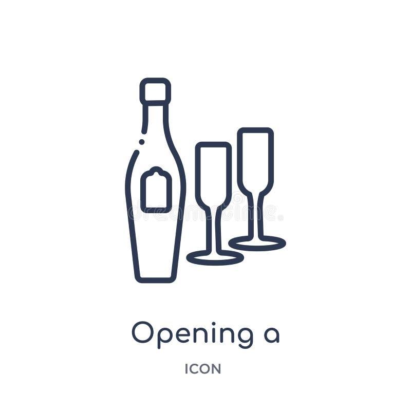 Abertura linear un icono de la botella del champán de la colección del esquema de la comida Línea fina abertura un icono de la bo ilustración del vector