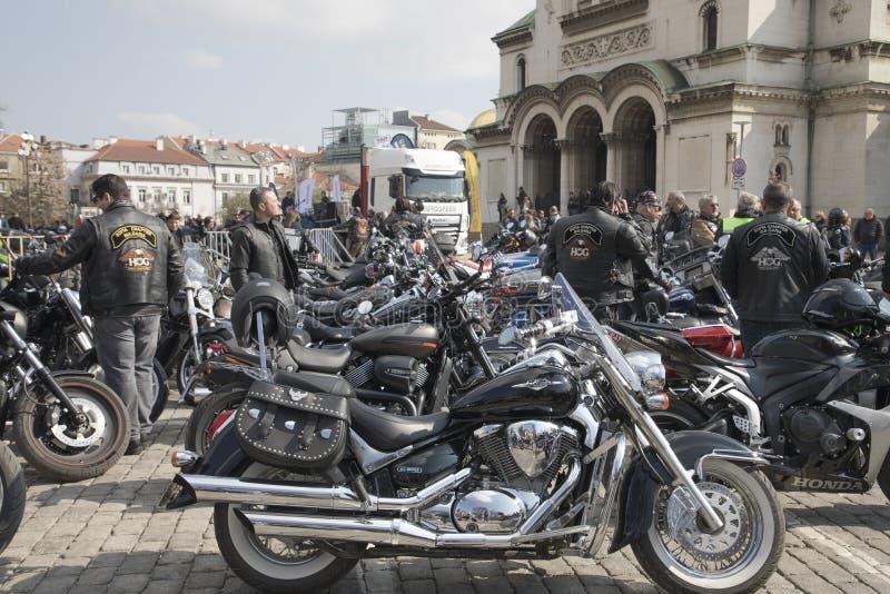 Abertura oficial da estação da motocicleta do verão em Sófia, Bulgária imagem de stock