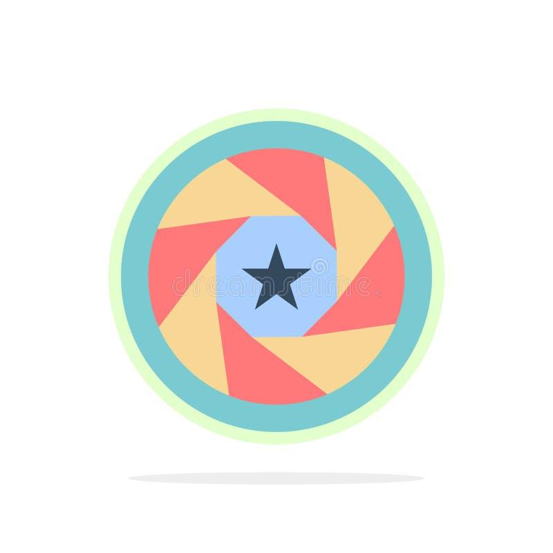 Abertura, película, logotipo, película, icono plano del color de fondo del círculo del extracto de la foto stock de ilustración