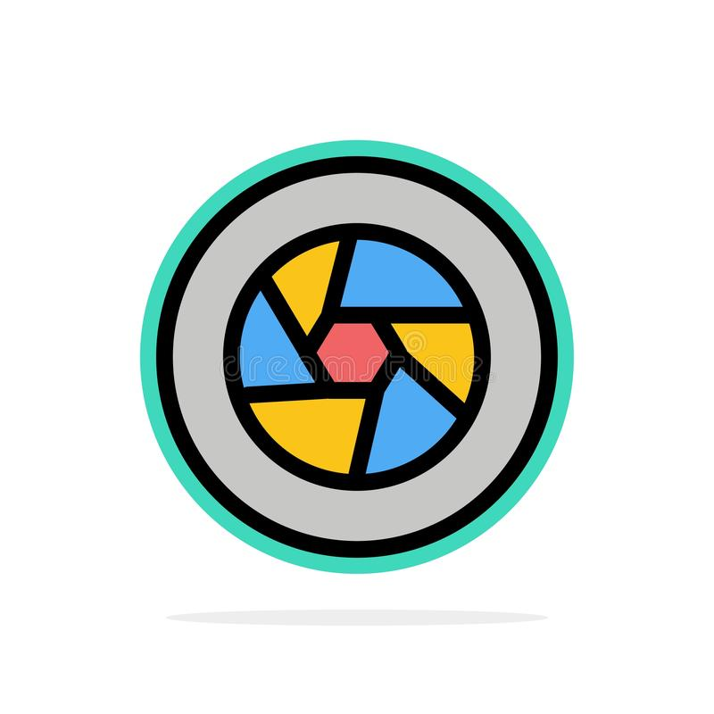 Abertura, película, logotipo, película, icono plano del color de fondo del círculo del extracto de la foto ilustración del vector