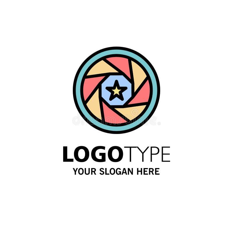 Abertura, película, logotipo, película, negocio Logo Template de la foto color plano stock de ilustración