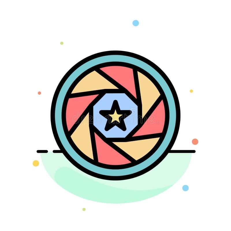 Abertura, película, logotipo, película, plantilla plana del icono del color del extracto de la foto ilustración del vector