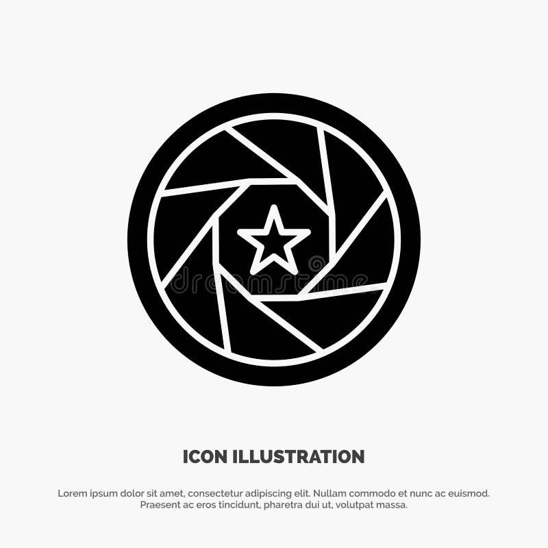 Abertura, película, logotipo, película, vector sólido del icono del Glyph de la foto ilustración del vector