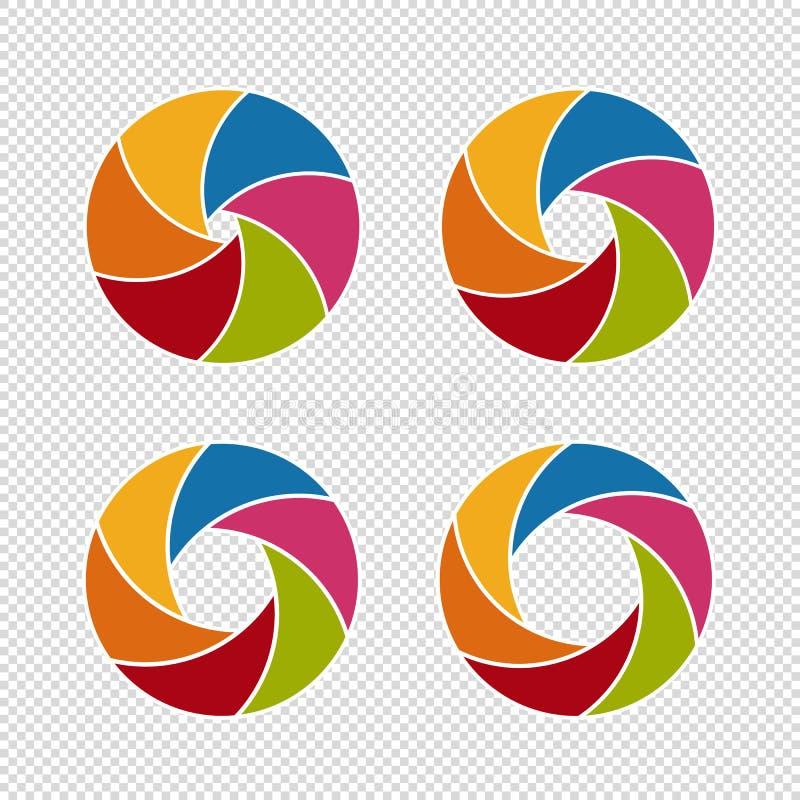 Aberturas del obturador de cámara - sistema colorido de los ejemplos del vector - aisladas en el fondo blanco ilustración del vector