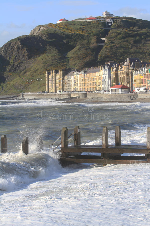 Aberystwyth strandboulevard royalty-vrije stock afbeeldingen