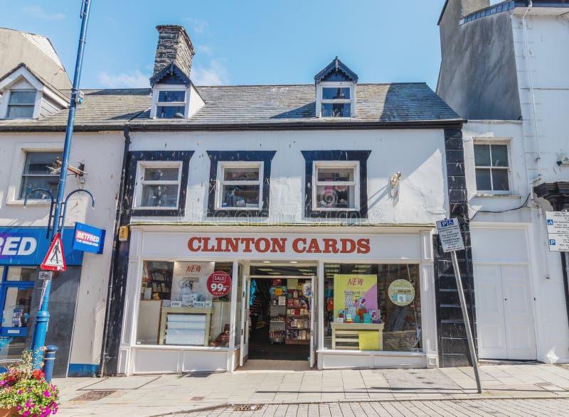 Aberystwyth Walia, UK Clinton kart sklepu przód,/- Lipiec 20th 2019 - Clinton karty są UK łańcuchem prowiantowe sprzedawanie kart zdjęcia royalty free
