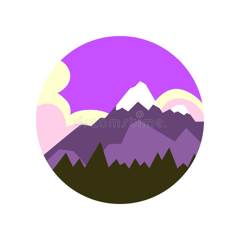 Abetaia naturale colorata del paesaggio e grande montagna con il picco nevoso Bello cielo bianco porpora su fondo Vettore illustrazione di stock